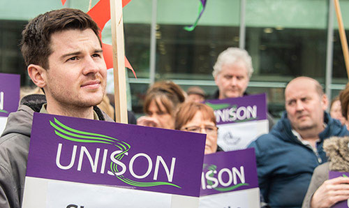 young man at a Unison demonstration